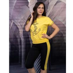 Дамски комплект туника с клин в жълто