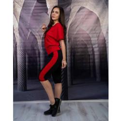 Дамски комплект туника с клин в червено