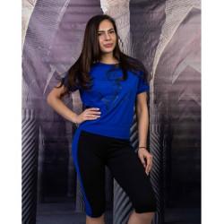 Дамски комплект туника с клин в тъмно синьо