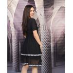 Стилна дамска рокля с тюл в черно