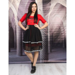 Стилна дамска рокля с тюл в червено