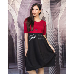 Екстравагантна дамска рокля тип балон в бордо и черно