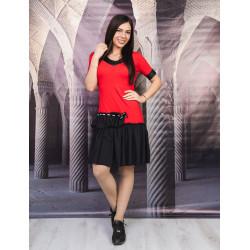 Дамска рокля с къс ръкав и къдри в червено