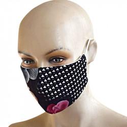 Трипластова маска за лице с моден дизайн Черна с бели точки