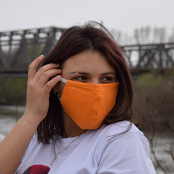 Трипластова едноцветна маска за лице с моден дизайн Портокал