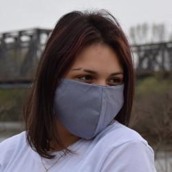Трипластова едноцветна маска за лице с моден дизайн Grey