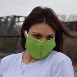 Трипластова едноцветна маска за лице с моден дизайн Green