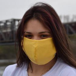 Трипластова едноцветна маска за лице с моден дизайн Yellow
