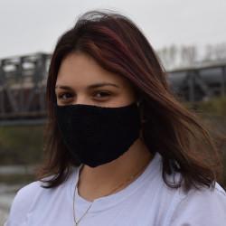 Трипластова черна дантелена маска за лице с моден дизайн