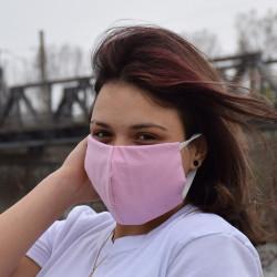 Трипластова едноцветна маска за лице с моден дизайн Розов цвят