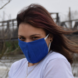 Трипластова едноцветна маска за лице с моден дизайн Тъмно-син цвят