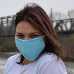Трипластова едноцветна маска за лице с моден дизайн Синя