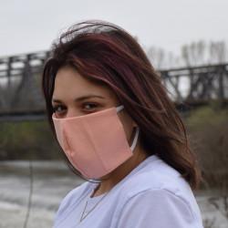 Трипластова едноцветна маска за лице с моден дизайн Праскова