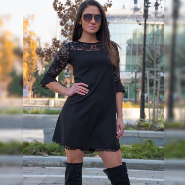 Официална дамска рокля с дантела