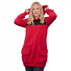 Дамска туника с кожени елементи в червено