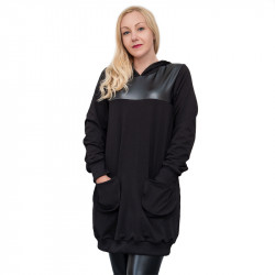 Дамска туника с кожени елементи в черно