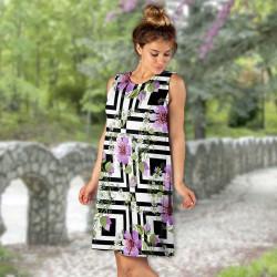 Лятна дамска рокля с 3D принт 6907