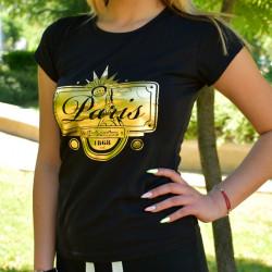 Дамска тениска - черна с щампа PARIS
