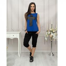 Дамски комплект синя туника с щампа и панталон