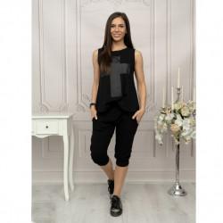 Дамски комплект туника с щампа и панталон в черно