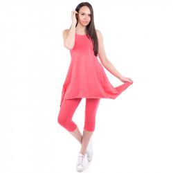 Ефирен летен дамски комплект туника + клин в цвят диня