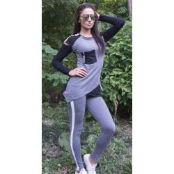 Дамски комплект от блуза с дълъг ръкав и клин графит