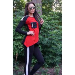 Дамски комплект от блуза с дълъг ръкав и клин в Червен цвят
