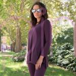 Ефирен дамски комплект туника + клин в цвят патладжан