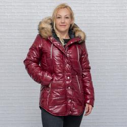Дамско шушлеково зимно яке с качулка в цвят бордо