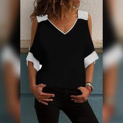Ефектна дамска блуза с голо рамо в черен цвят