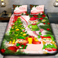 3D луксозен детски спален комплект  MERRY CHRISTMAS GIRL