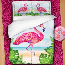 3D луксозен спален комплект ''Flamingo at the beach''