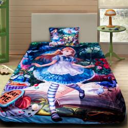 3D луксозен детски спален комплект АЛИСА В СТРАНАТА НА ЧУДЕСАТА 3