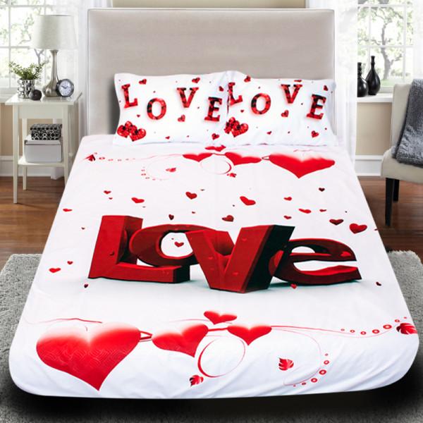 """3D Луксозен спален комплект за влюбени """"Love"""""""
