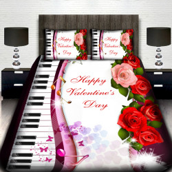 3D Луксозен спален комплект за влюбени Happy Valentine's Day