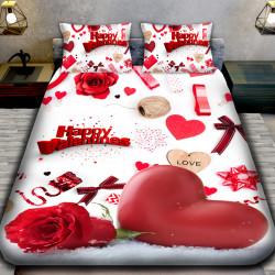 3D Луксозен спален комплект за влюбени Heart and Roses
