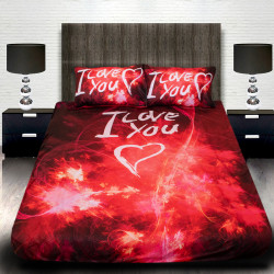 """3D Луксозен спален комплект за влюбени """"I Love You"""""""