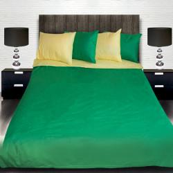 Комплект от двулицево спално бельо в жълто и светло зелено с подарък