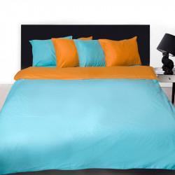 Комплект от двулицево спално бельо в оранжево и синьо с подарък